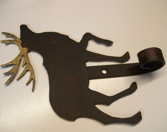 Rustic Blackened Golden Antler Reindeer Christmas Stocking Hanger Holder Country Wall Coat Hook