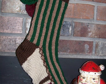 Old Fashioned Hand Knit Rustic Bold Vertical Striped Christmas Stocking in Greens and Browns with Fir Tree Detail