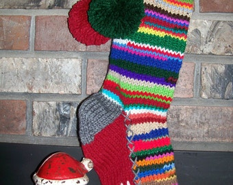Old Fashioned Hand Knit Multi Color Rag Series Christmas Stocking Personalized MOM with Flower Detail