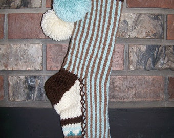 Old Fashioned Hand Knitted Bright Series Christmas Stocking  in Vertical Stripes of Aqua Chocolate Brown
