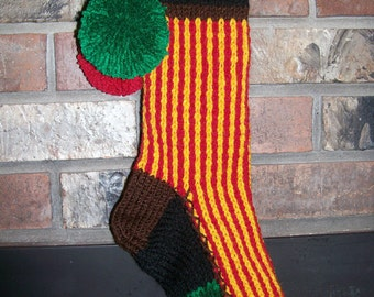 Old Fashioned Hand Knit Gold and Red Vertical Stripe Christmas Stocking with Red Heart Fancy Border Detail