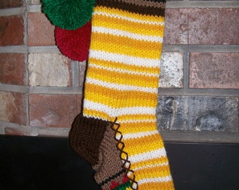 Old Fashioned Hand Knit Bright Series Gold and White  Horizontal Stripes Christmas Stocking with Fancy Block Border Detail