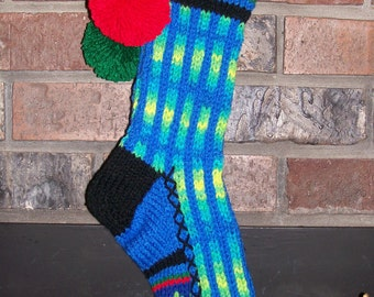 Old Fashioned Hand Knit Bright Series Banana Berry and Bright Blue Christmas Stocking with Chain Link Stripe