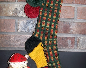 Old Fashioned Hand Knit Fall Rainbow and Dark Sage Green Christmas Stocking with Fir Tree Border