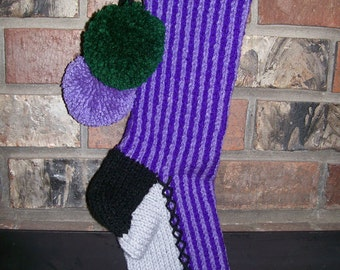 Old Fashioned Hand Knit Bright Series Two Tone Purple Vertical Striped Stocking with Fir Tree Detail