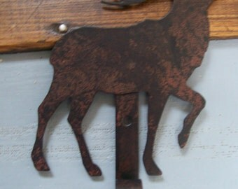 Rustic Blackened Metal Reindeer Christmas Stocking Hanger Country Wall Art Hook