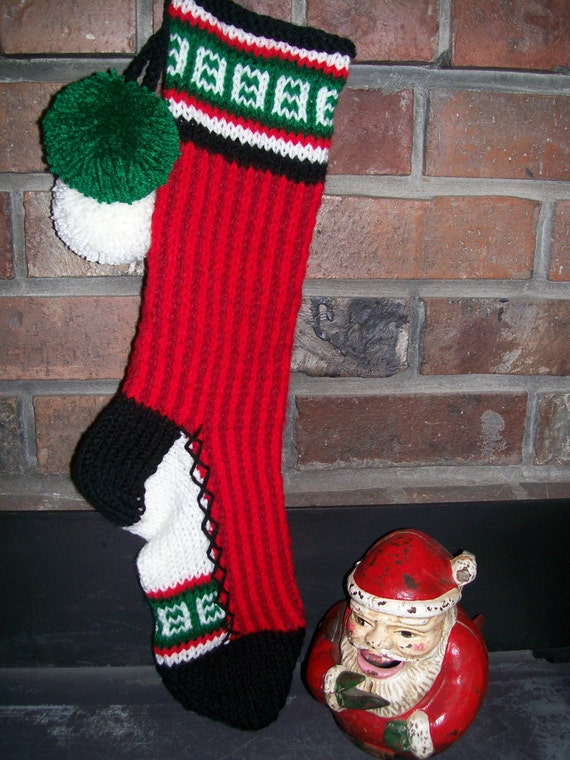 Old Fashioned Hand Knit Classic Series Christmas Stocking in Two Tone Red Vertical Stripes