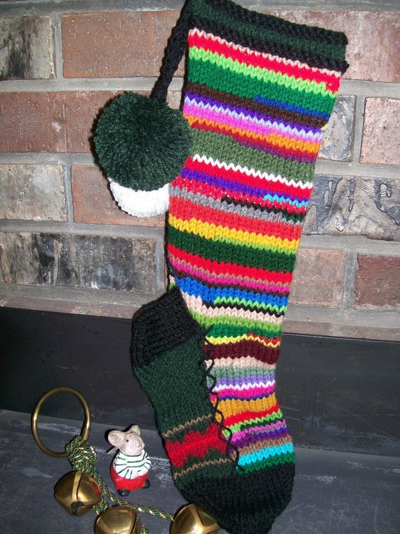 Old fashioned hand knit multi color rag series christmas for Fashion christmas stockings