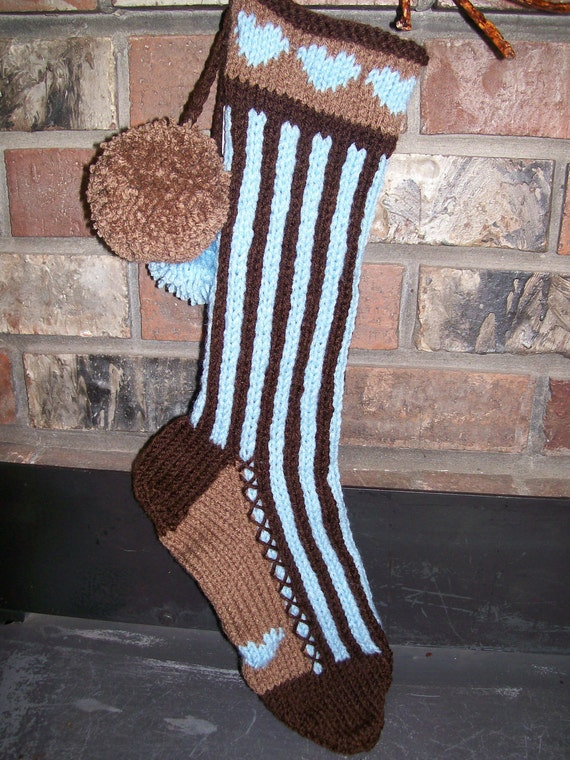 Old Fashioned Hand Knit Bright Series Baby Blue Chocolate Brown Vertical Stripes Christmas Stocking with Heart Detail
