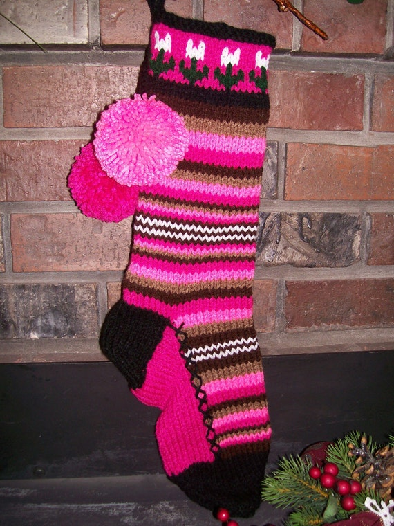 Old Fashioned Hand Knit Bright Series Pinks and Browns Horizontal Striped with plain gusset Christmas Stocking with Flower Detail top