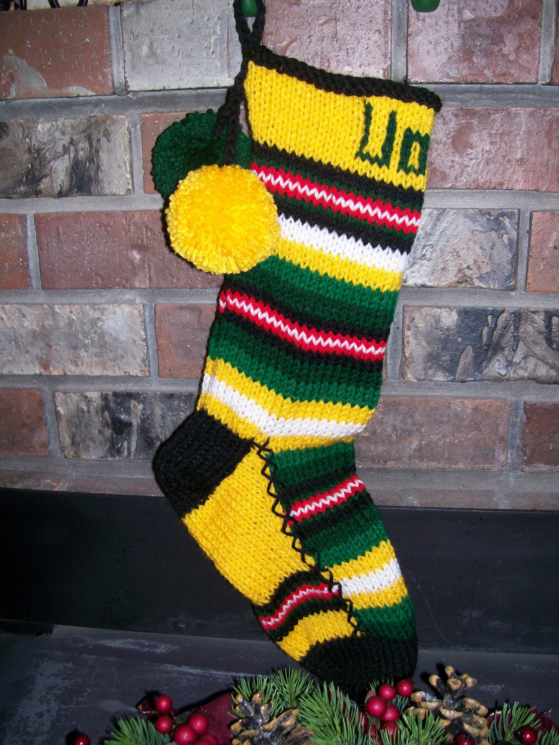 Old fashioned hand knit christmas stocking in yellow green red for Fashion christmas stockings