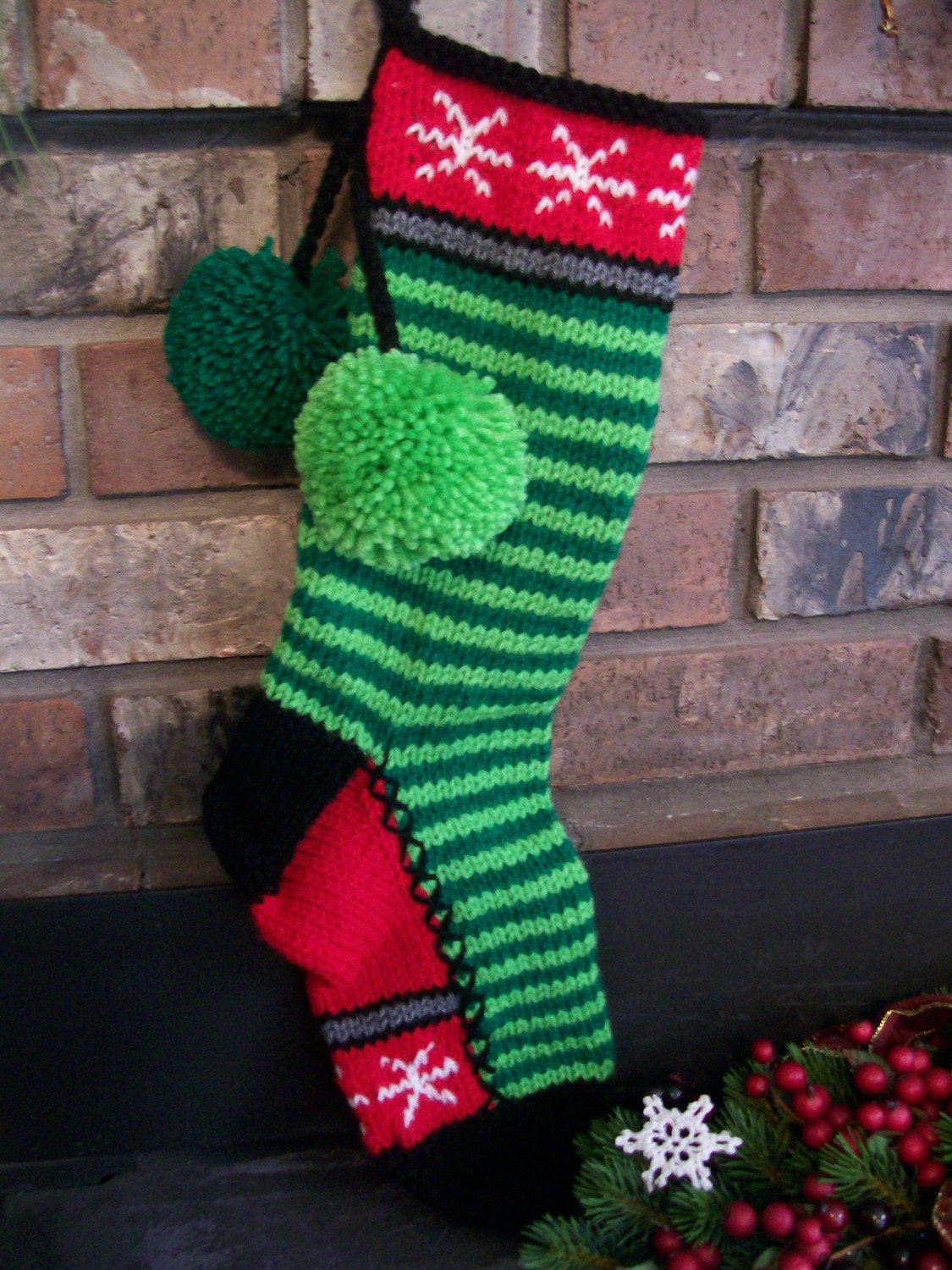 Old fashioned hand knit christmas stocking in paddy lime for Fashion christmas stockings