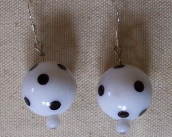 Vintage bead pokadot earrings