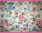 Shabby Chic Pink and Blue Roses - Fabric - 2 Yards extra wide
