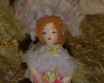 Tiny Vintage Handmade Dollhouse Doll