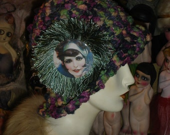 Nubby Muti Colored Chenille Flapper Cloche Hat with Clara Bow Photo Medallion Pin
