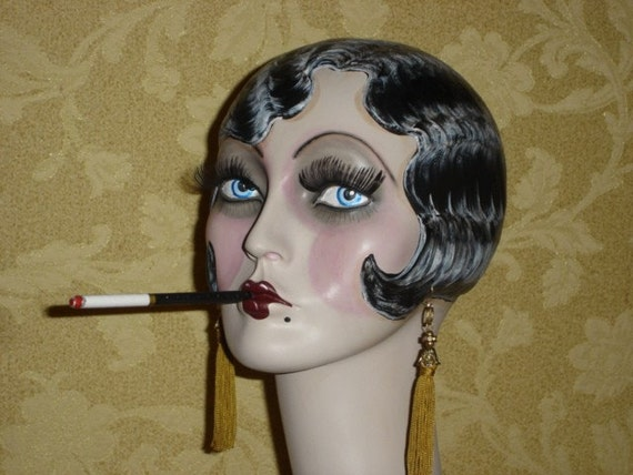 hand painted art deco sultry smoking flapper mannequin always. Black Bedroom Furniture Sets. Home Design Ideas