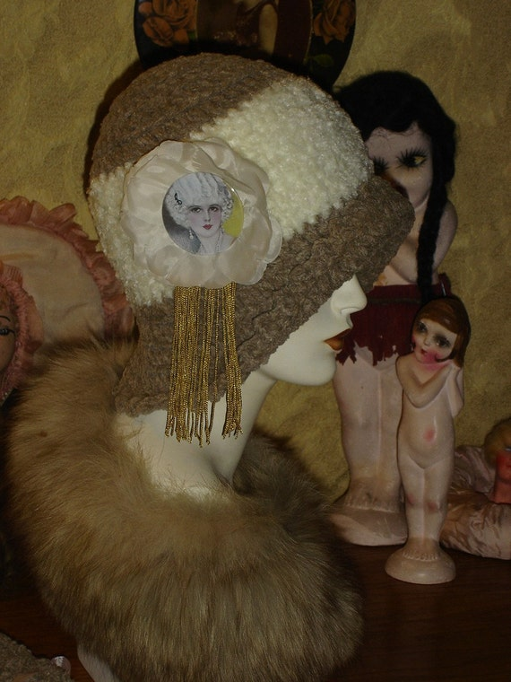 Plush Beige and Winter White Chenille Flapper Cloche Hat with Magnolia Flapper Fringe Photo Medallion Pin