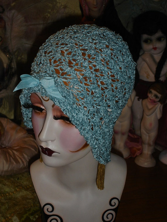 Sweet Lacy Flapper Hat Crocheted Aquamarine Chenille Cloche
