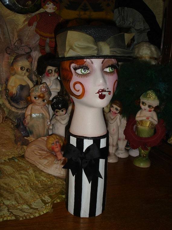 Hand Painted Flapper Mannequin Head Vintage Redhead Smoking Boudoir Doll Style Hat Display