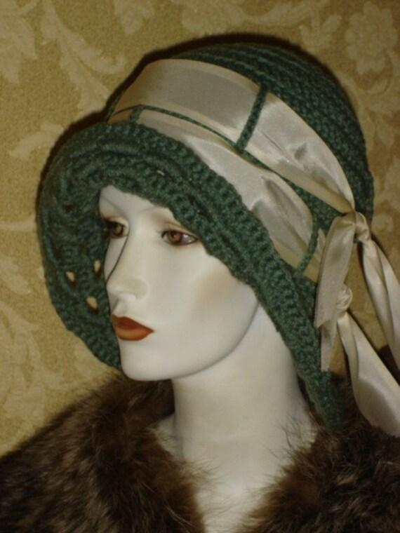 Pretty Sage Green Crocheted Flapper Cloche Hat ---HUGE SALE---