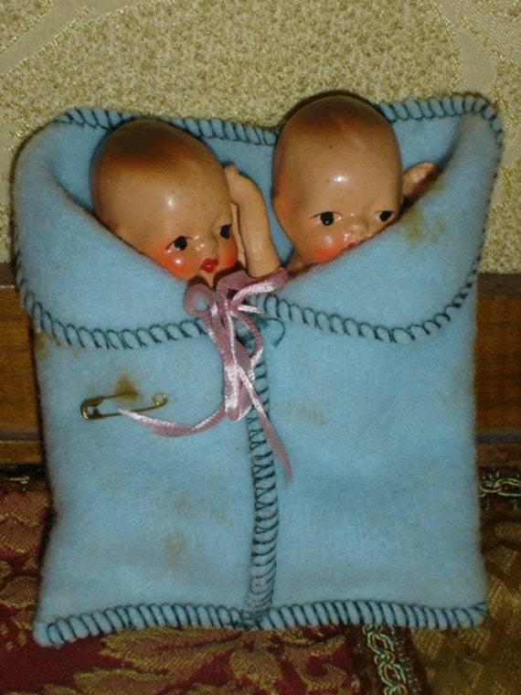 Adorable Vintage Bisque Twin Baby Dolls