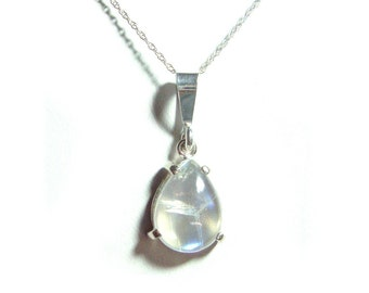 Moonstone sterling silver pear pendant with chain