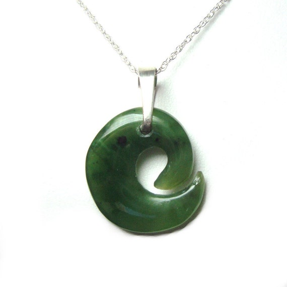 Jade sterling silver pendant with chain