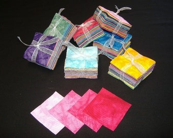 162 Piece Hand Dyed Fabric Charm Squares  2.5 Inch Charms