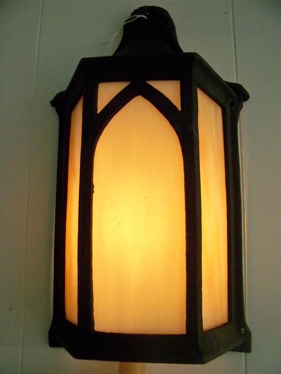 Antique Gothic Light Fixture Slag Glass & Iron Outdoors or In