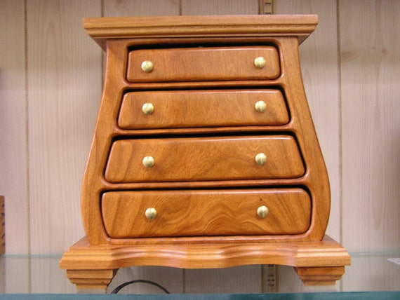 4 drawer cherry jewelry chest. Black Bedroom Furniture Sets. Home Design Ideas