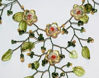 Golden Flower Garden Necklace