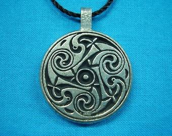 Small Circular Celtic Swirls Knotwork Pendant in Silver Pewter, Handmade, Handcast STK033