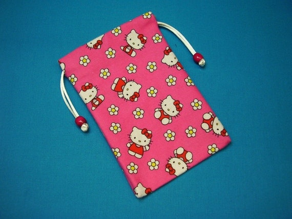 Cozy Flannel Hello Kitty Lined Tarot Card Pouch, Tarot Card Bag