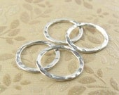 Sterling Silver Closed Hammered Textured Rings - Shiny 13.5mm - Set of 4