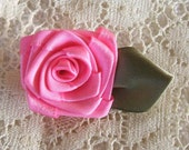 4 Med Hot Pink 1-1/2in. Victorian Ribbon Roses for Boutique Designers