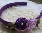 Headband, Purple, Handmade, Ribbon Rose, for Flowergirl,Designer