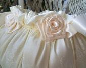 Flower Girl Basket Wedding HANDMADE Flowergirl in White or Ivory VICTORIA - RoseGardenStitches