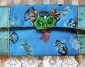 Evening Oriental Clutch  Handbag Embroidered Satin Turquoise Blue Handmade