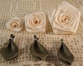 3 Graduating S,M,L Ribbon Rose Appliques for Boutiques,Desingers  Cream