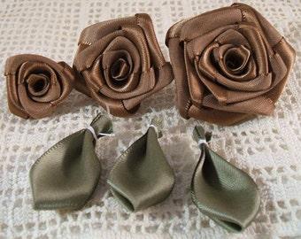 3 Graduating S,M,L Ribbon Rose Appliques for Boutiques,Desingers  Cocoa