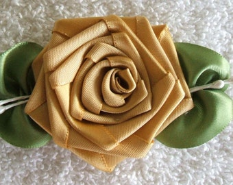 Applique Golden Rose  Handmade With Veined Leaves (3-1/2 inches long)