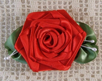 1 XL Red Rose Applique With Veined Leaves Hand Made (3-1/2 inches long)