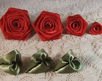 Ribbon Rose,Handmade Quality Set of 4,Ruby RED, XL,LG,Med,Small