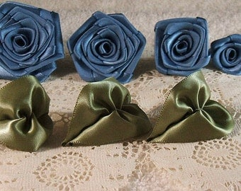 Ribbon Roses,Handmade Quality Set of 4,Antique Blue, XL,LG,Med,Small
