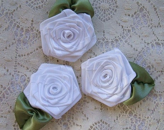 Ribbon Roses, Handmade, 3 XLG, White, Victorian,Boutique, Designers
