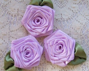 Ribbon Roses, Handmade, 3 XLG, Lavender, 2-1/2in. Victorian, Boutique, Designers