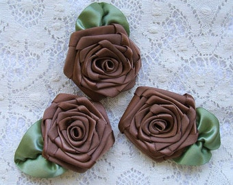 Ribbon Roses, Handmade, 3 XL, Victorian,Boutique, Designer, Cocoa