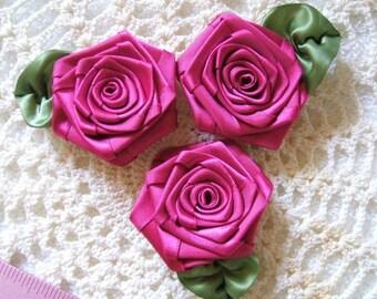 Victorian Ribbon Roses Handmade 3 XLG Fushia 2-1/2in.