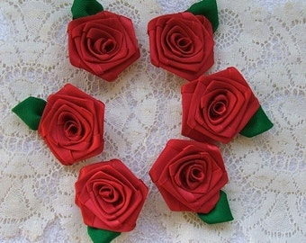 1/2 Dozen Red Ribbon Roses, Handmade, 2 inches each